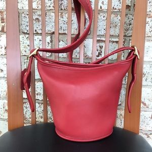 Vintage Coach Red Bucket Hobo Bag